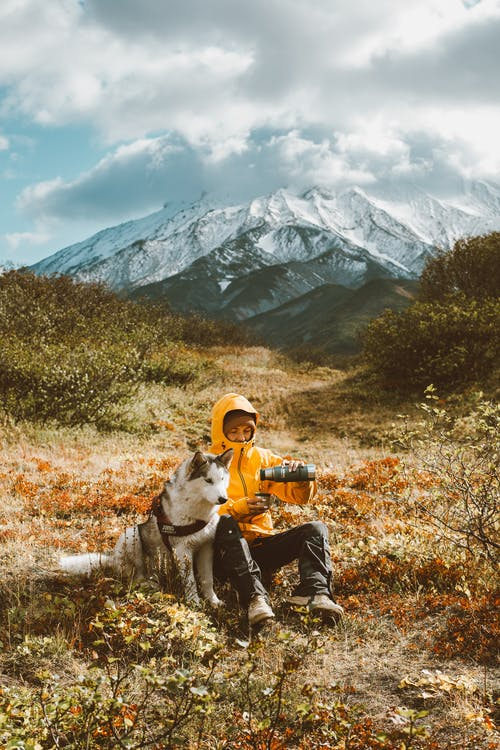 Full body frozen traveler resting on grassy highland with adorable Husky dog and pouring hot drink from thermos bottle against majestic snowy mountain range on cold day