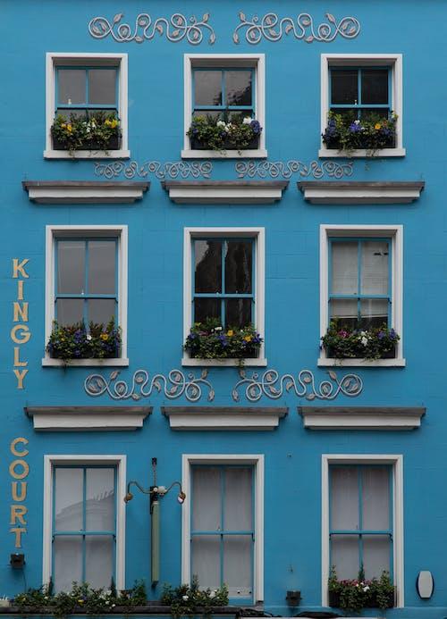 Blue facade of residential building