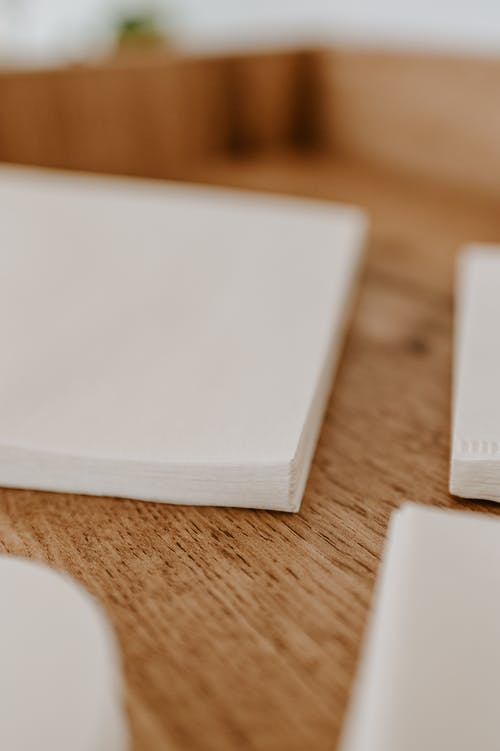 Collection of blank napkins on desk in house