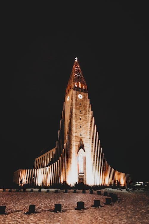 Aged Lutheran church with illuminated facade at night