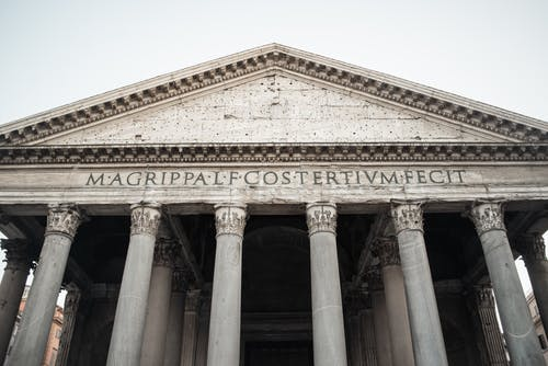 Stone portico of magnificent Pantheon in Rome