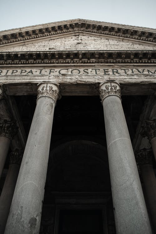 Majestic entrance to Pantheon in Rome
