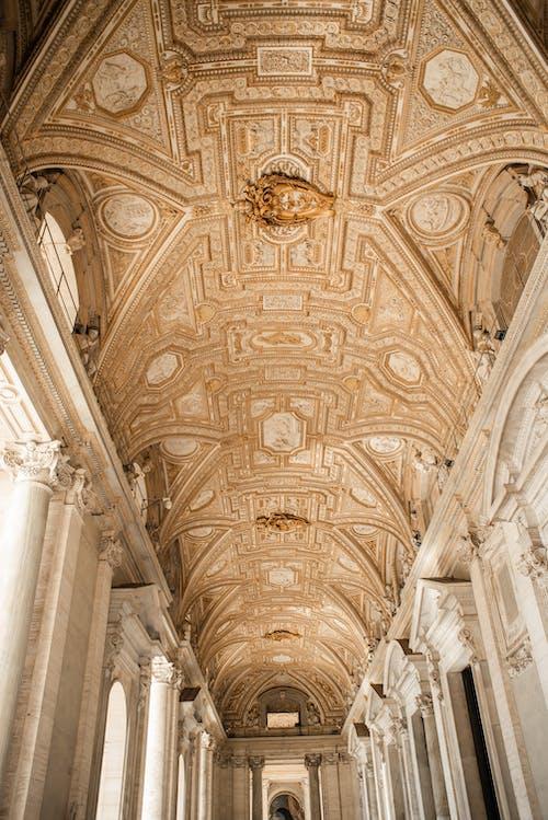 Wonderful ornate ceiling of Saint Peters Basilica in Vatican