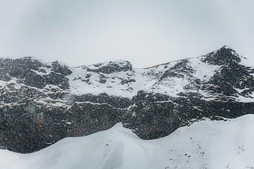Snowy mountain peaks against overcast sky