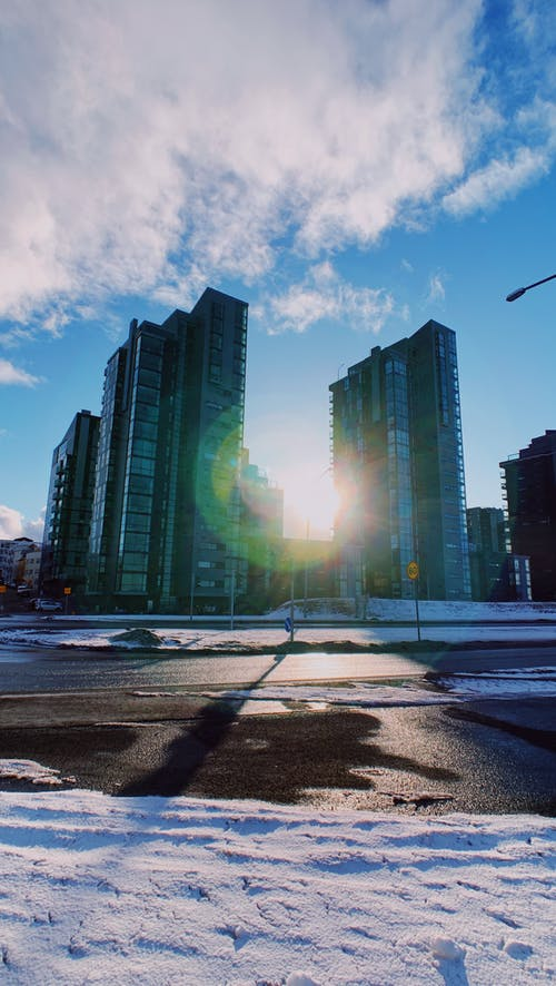Modern skyscraper on city street
