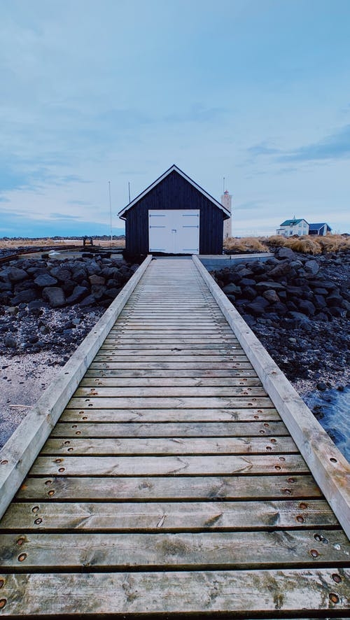 Wooden pier with boat house