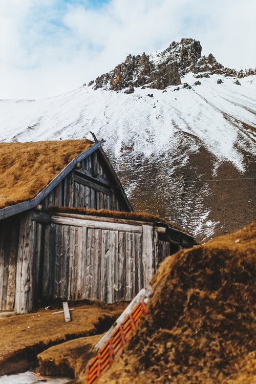 Aged cabin with mossy roof in mountains