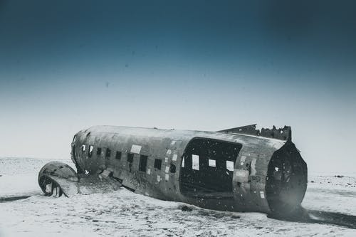 Wrecked Plane on Snow Covered Ground