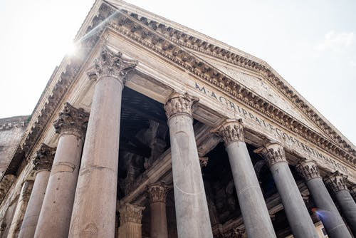 Facade of amazing antique Pantheon in Rome