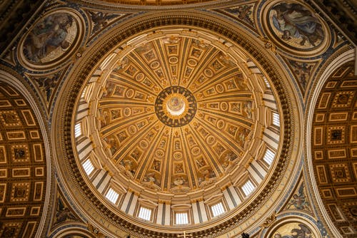 Majestic dome interior with frescos of saints