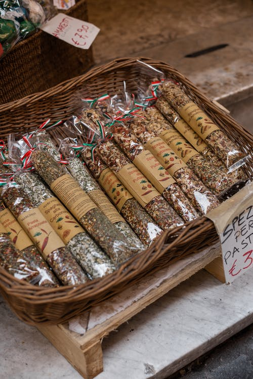 Assorted oriental aromatic spices for sale in street market