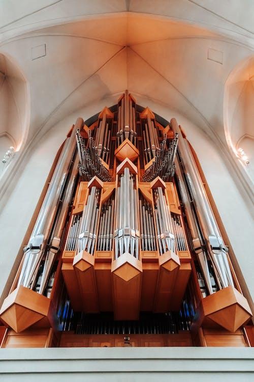 Órgano De Tubos En La Antigua Catedral De Estilo Gótico