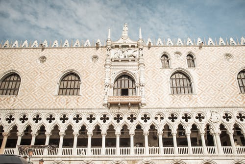 Exterior of gothic Doge Palace in Venice