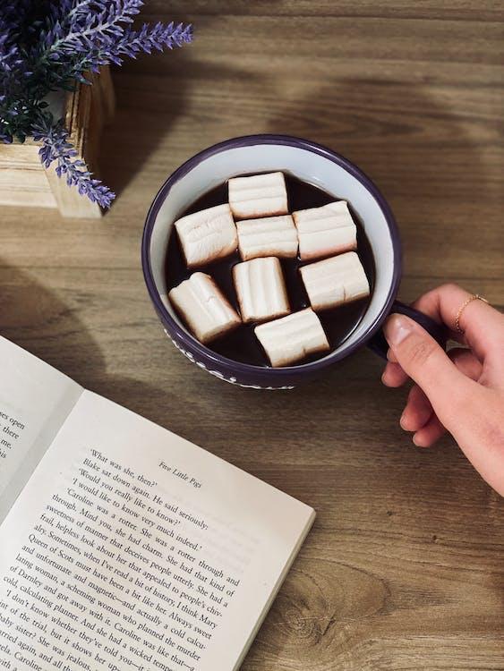 White Sugar Cubes in Black Ceramic Bowl