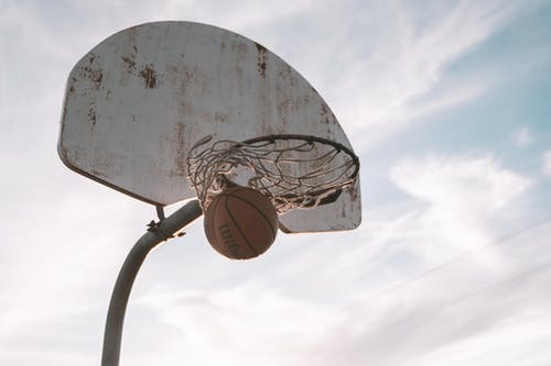 Basketball Hoop Under Cloudy Sky