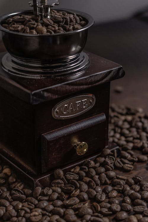 Black Wooden Box With Coffee Beans
