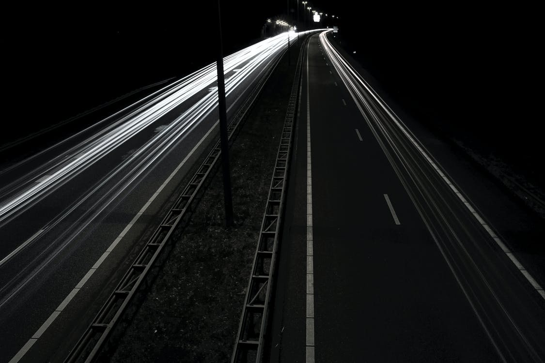 Gray Asphalt Road during Nighttime