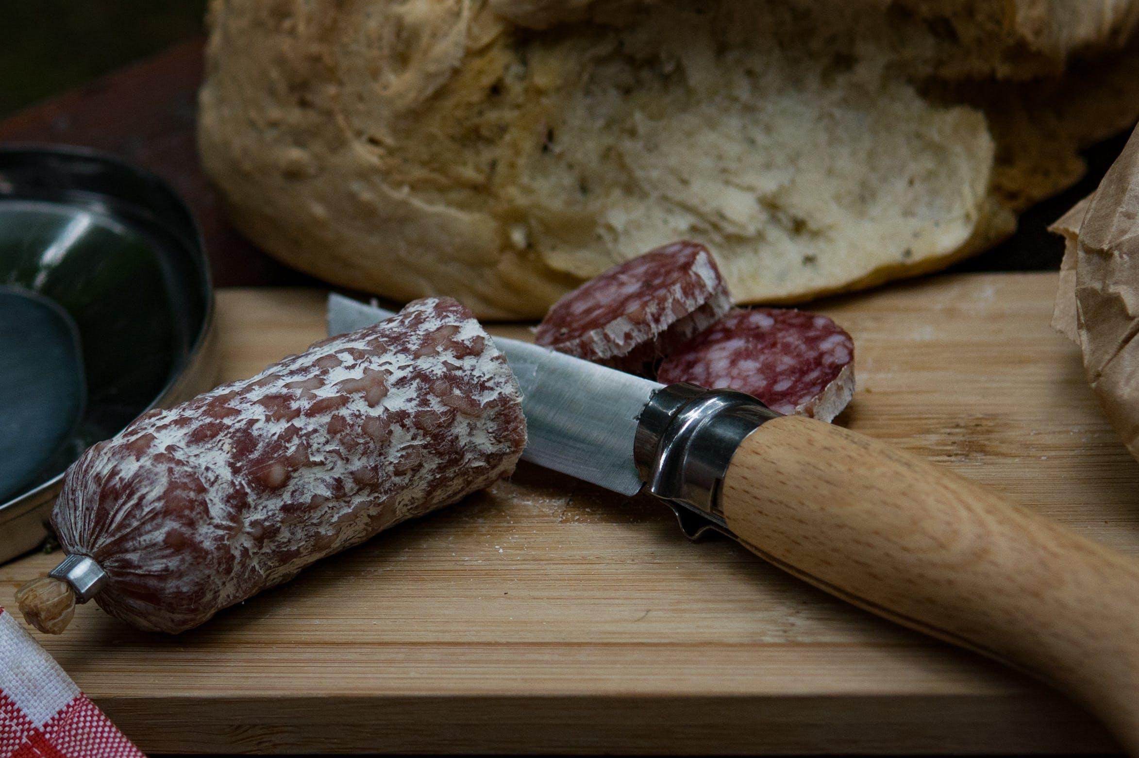 board, bread, camping knife