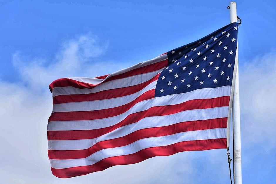 American flag, clouds, flag