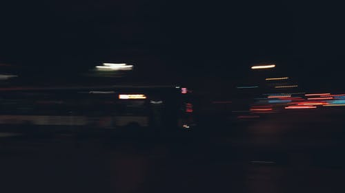 Blurred lights of moving bus