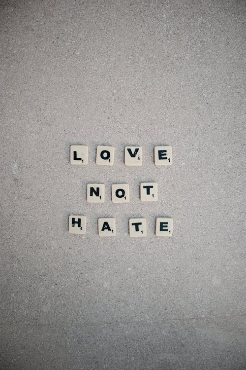 Scrabble Tiles Spelling Love Not Hate