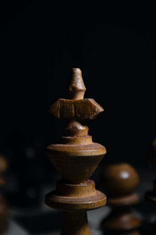 Close Up of a Chess King Piece