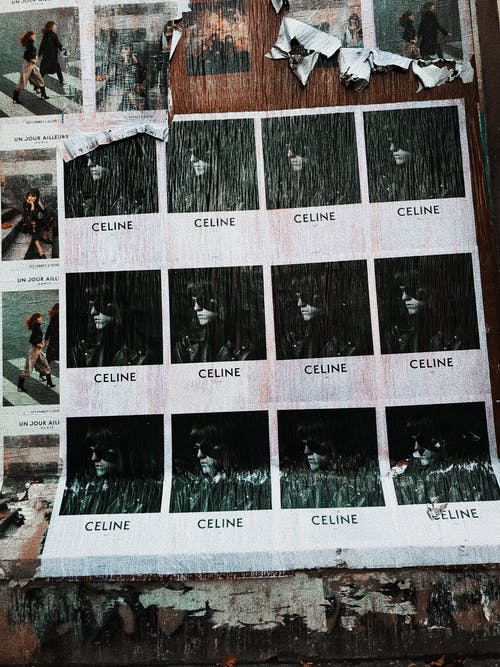 Set of various photos on shabby wall