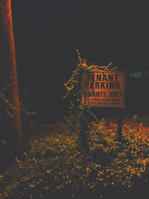 Shabby sign covered with grass at dark night