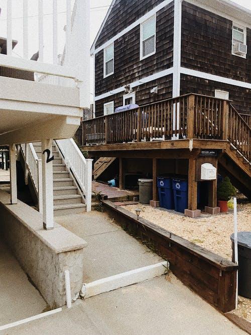 Residential buildings with stairways and railings