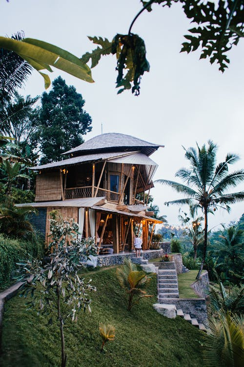 Light blue sky over private wooden cottage on slope surrounded by grass and palms in daytime