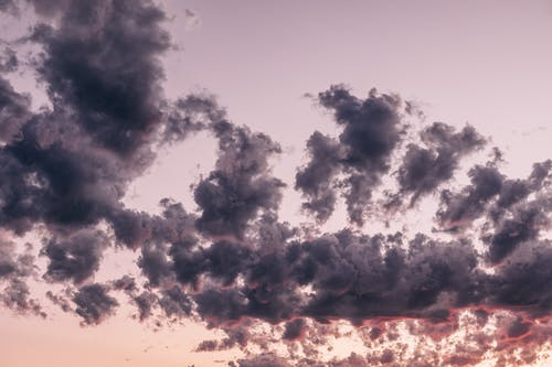 From below of dark fluffy clouds floating in sky in summer evening at sundown