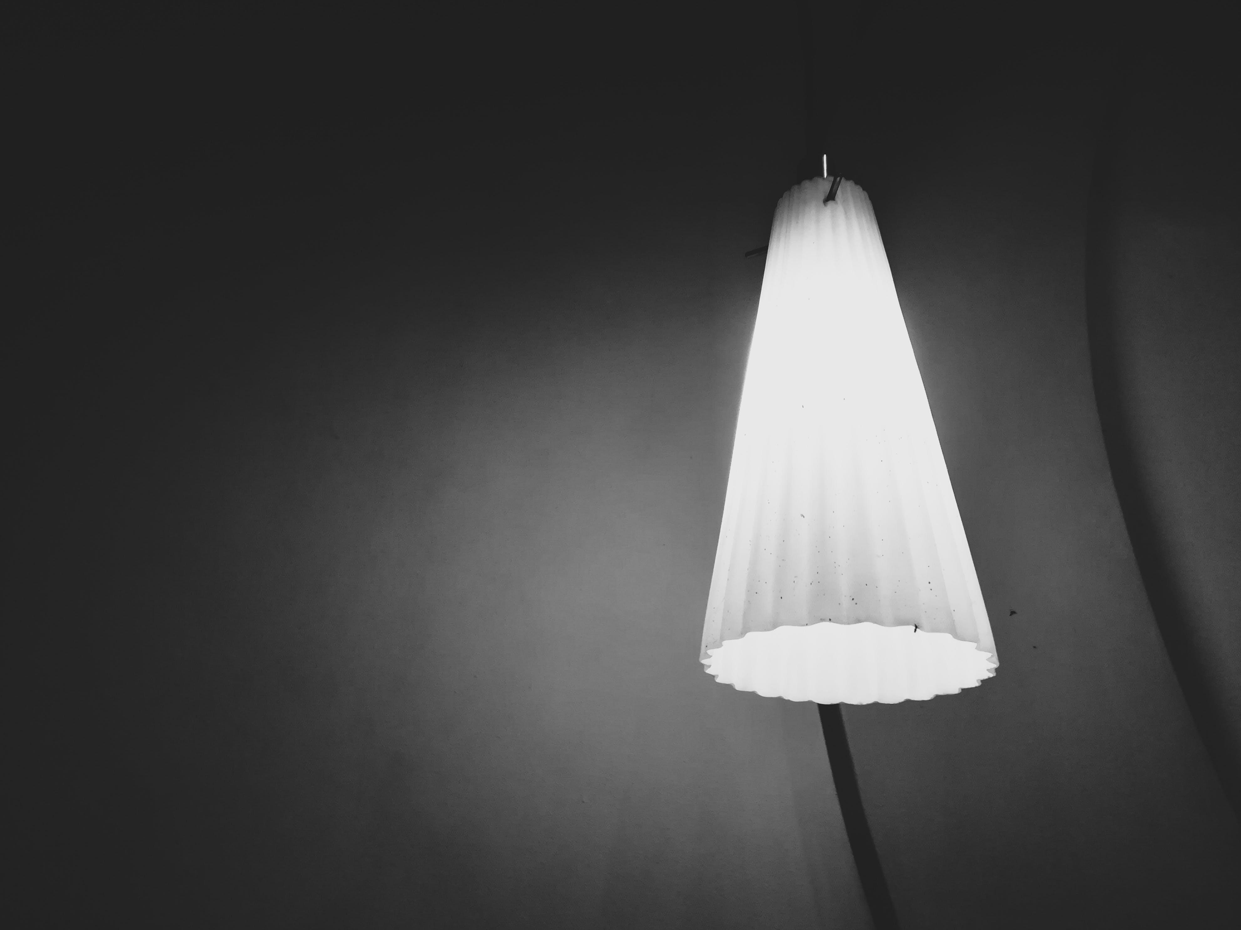 Free stock photo of black and white, bulb, ceiling lamp, dark