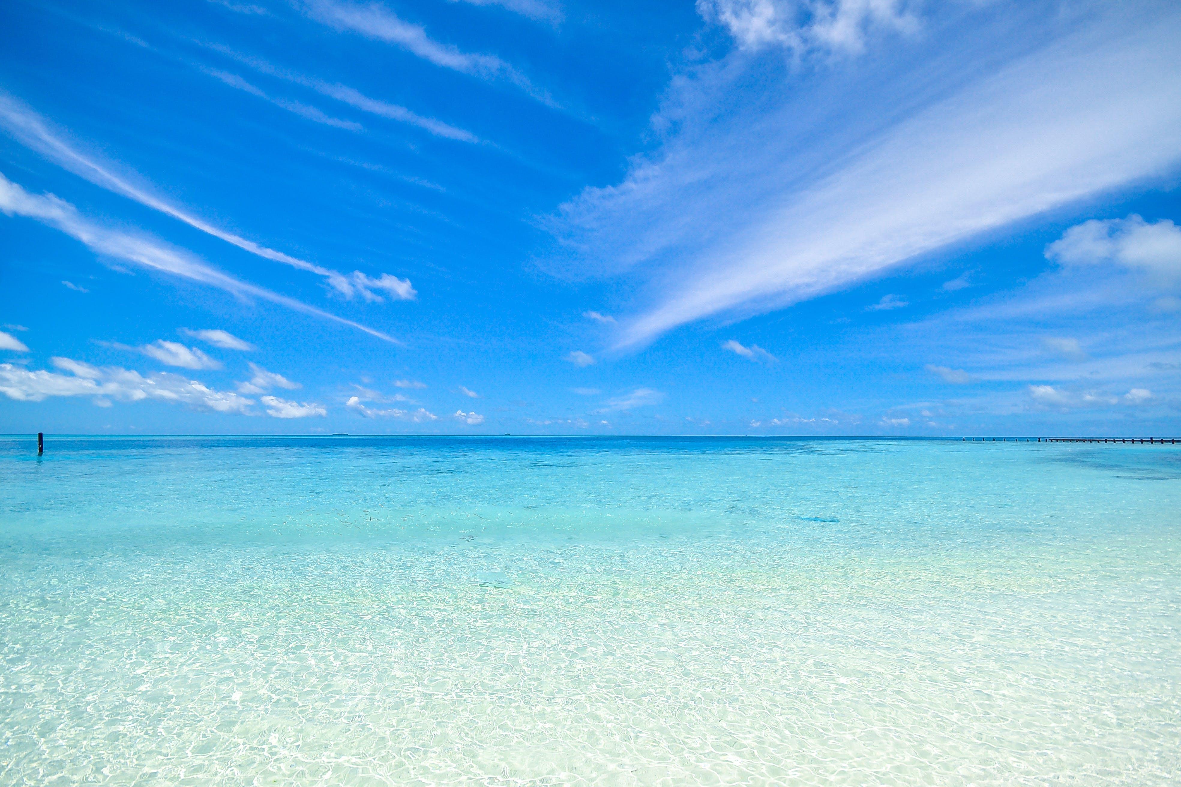 beach, calm, clouds