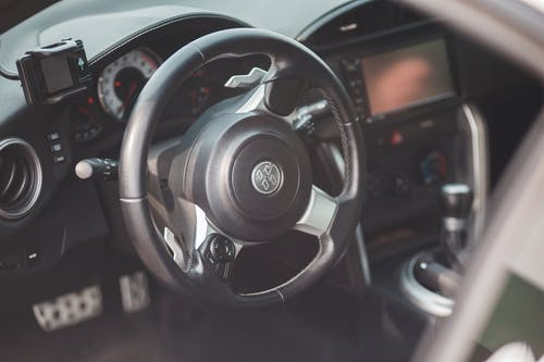 Steering wheel in modern fancy car