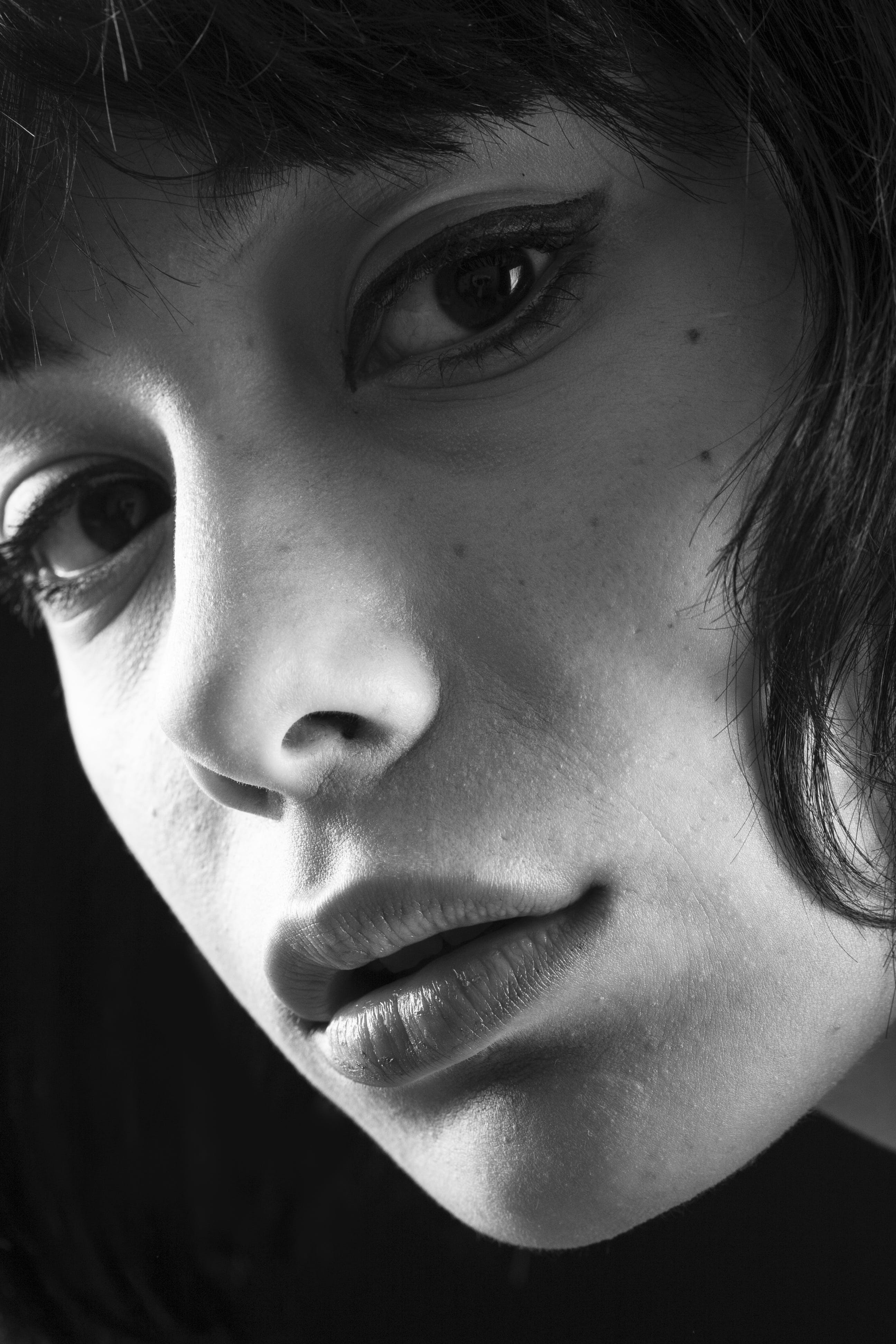 black-and-white, eyes, face