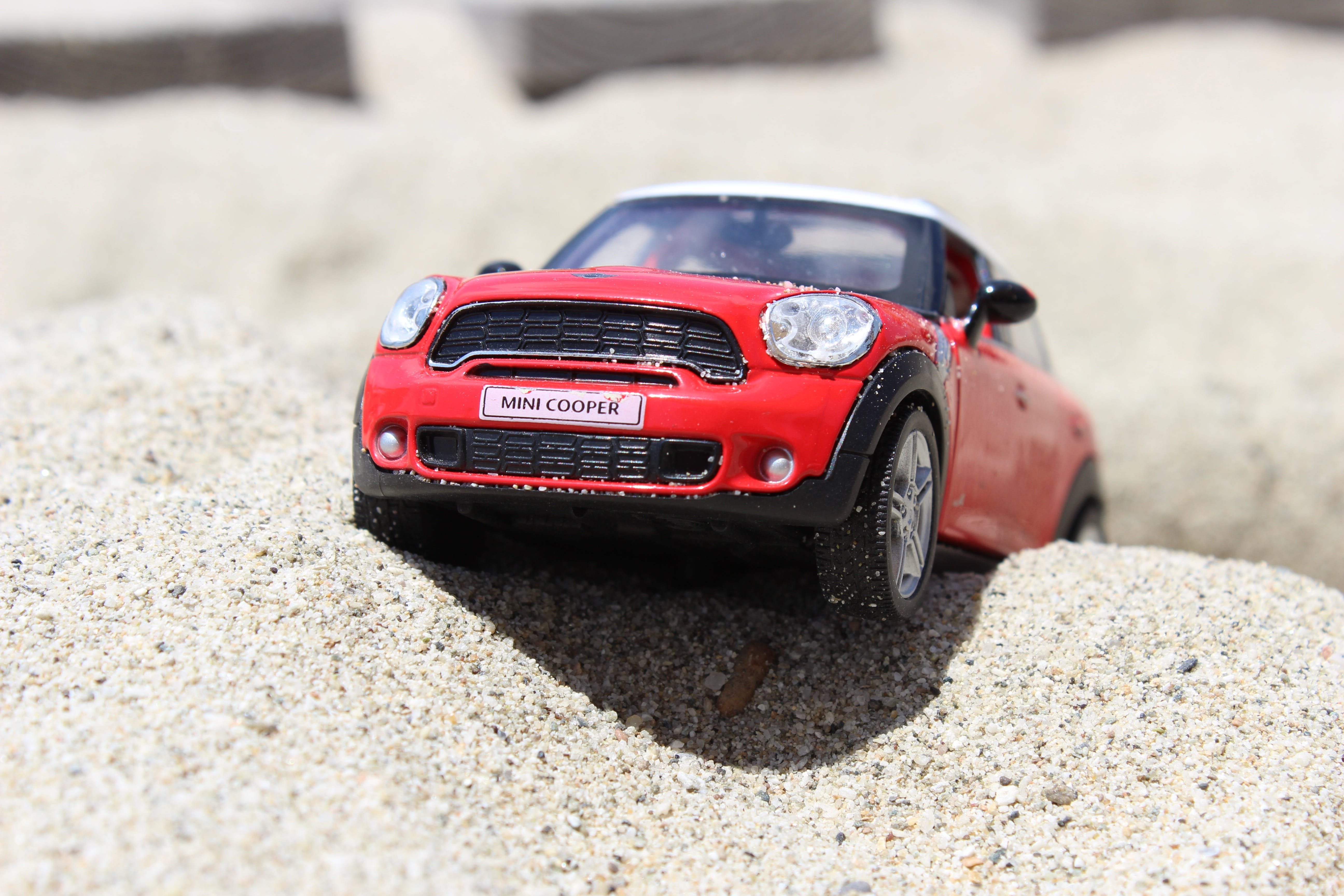 Black and Red Mini Cooper Scale Model