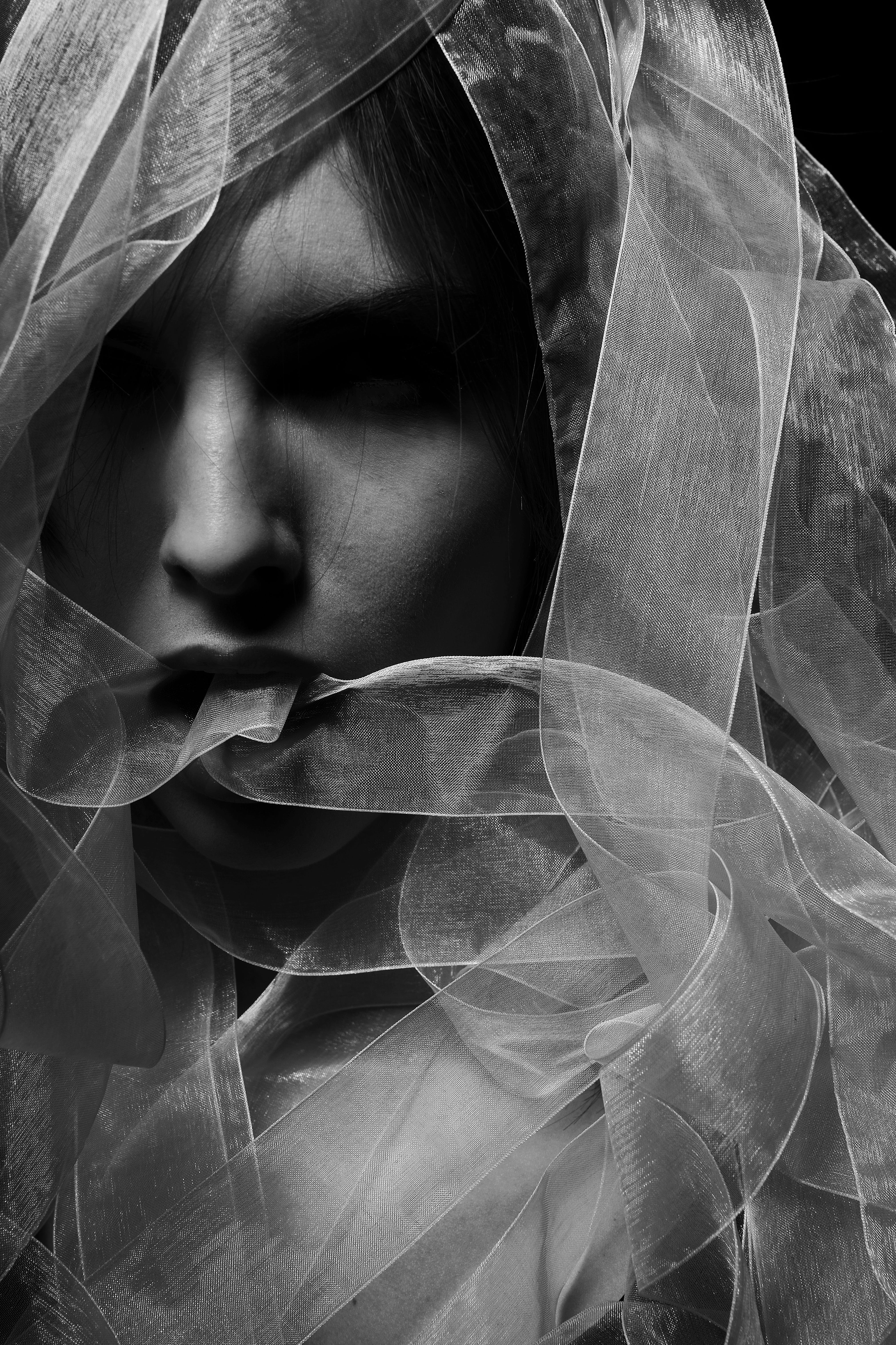 Grayscale Photography of Woman Wearing Veil