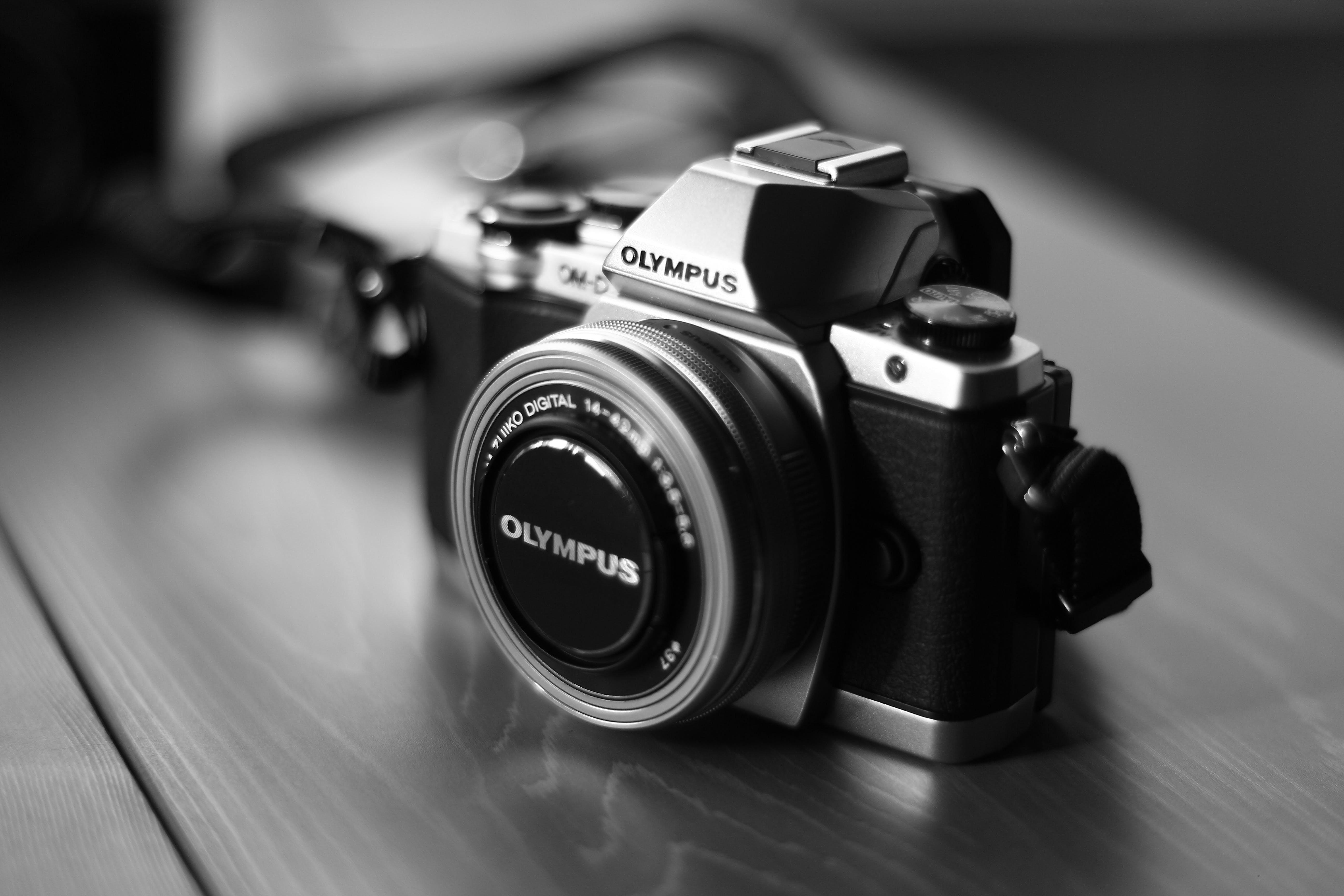 Grayscale Photo of Black and Gray Olympus Camera