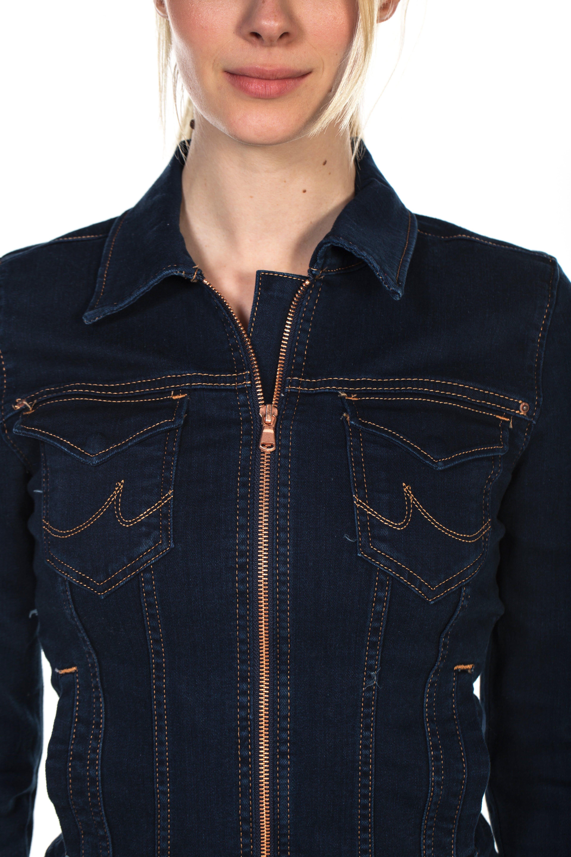 Woman Wearing Blue Zip-up Jacket