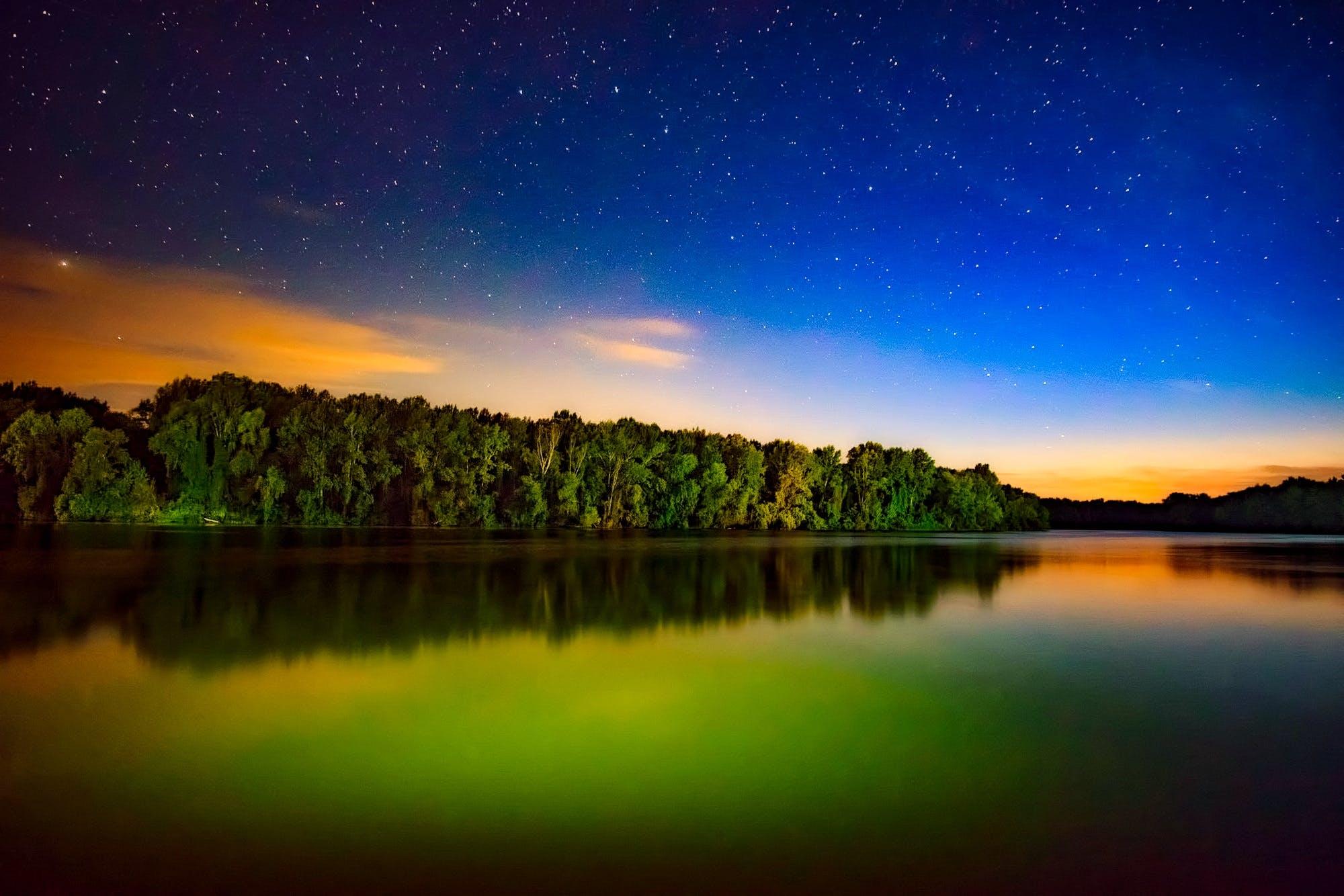 zu abend, bäume, blau, dämmerung
