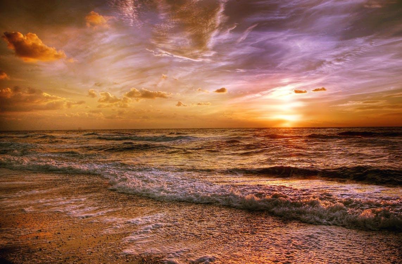 bewolkt, dageraad, golven