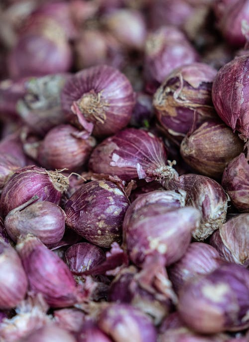 Purple Onion on Brown Wooden Table