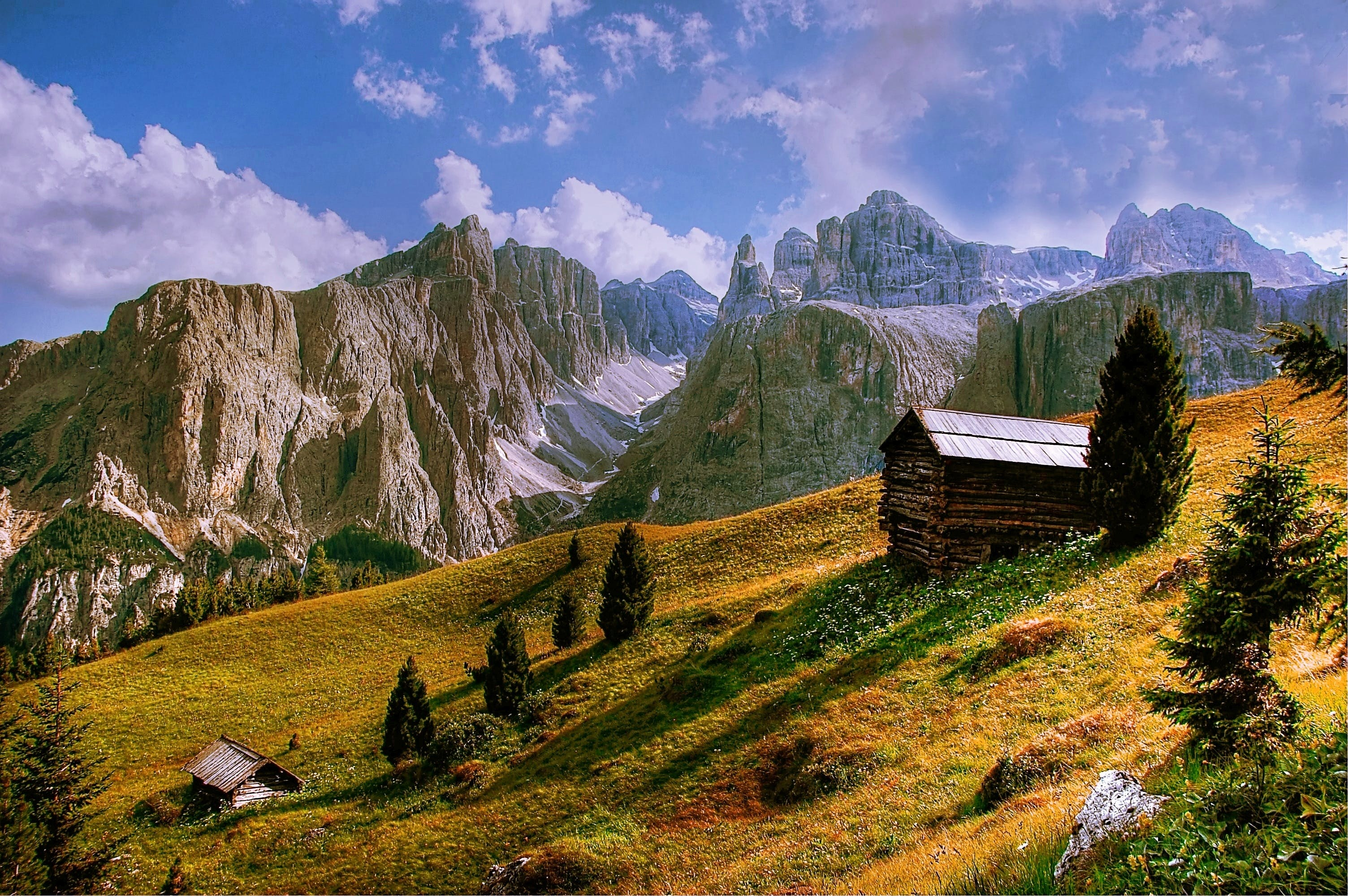 cabin, clouds, countryside