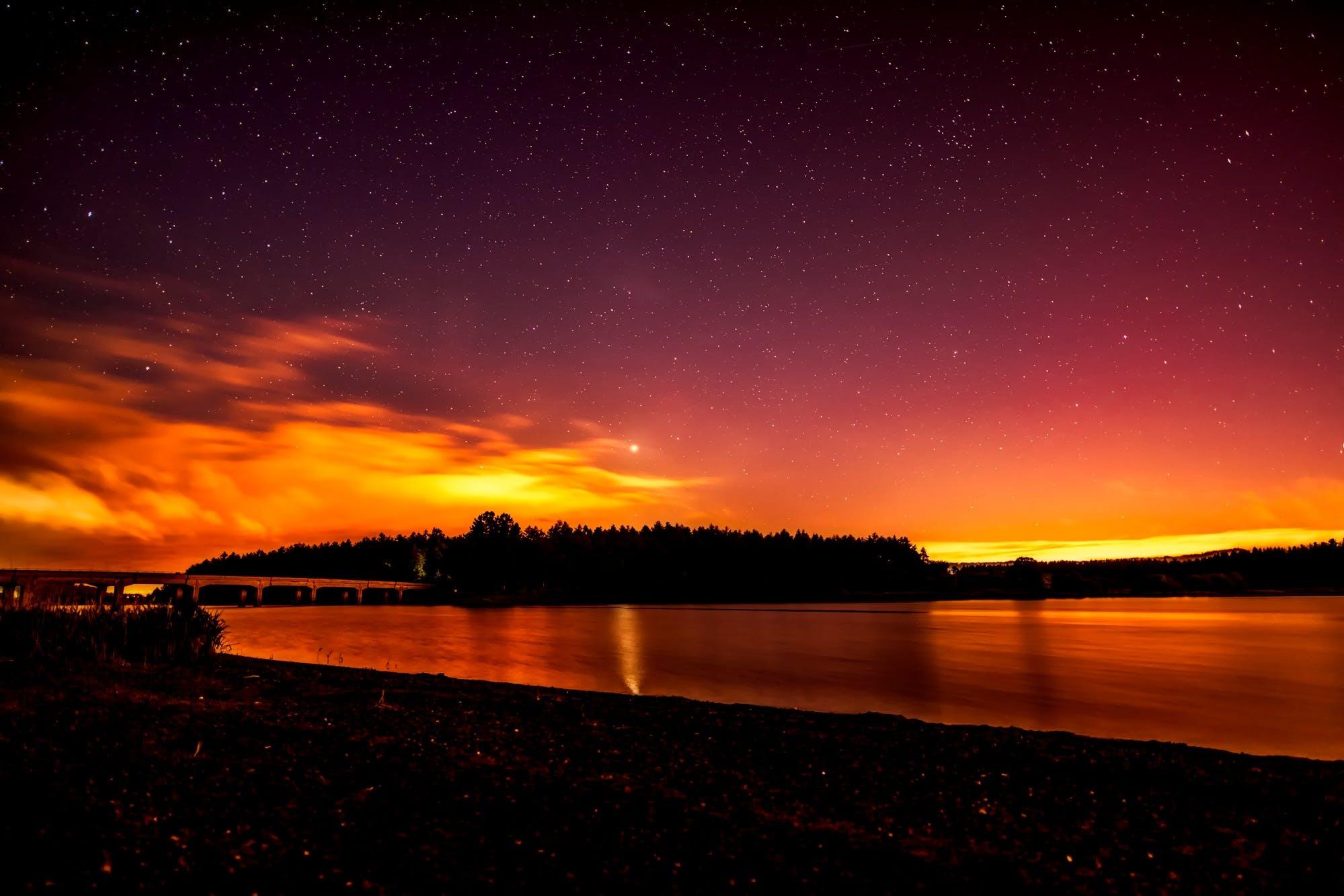 カラフル, ダーク, ブリッジ, 夕方の無料の写真素材