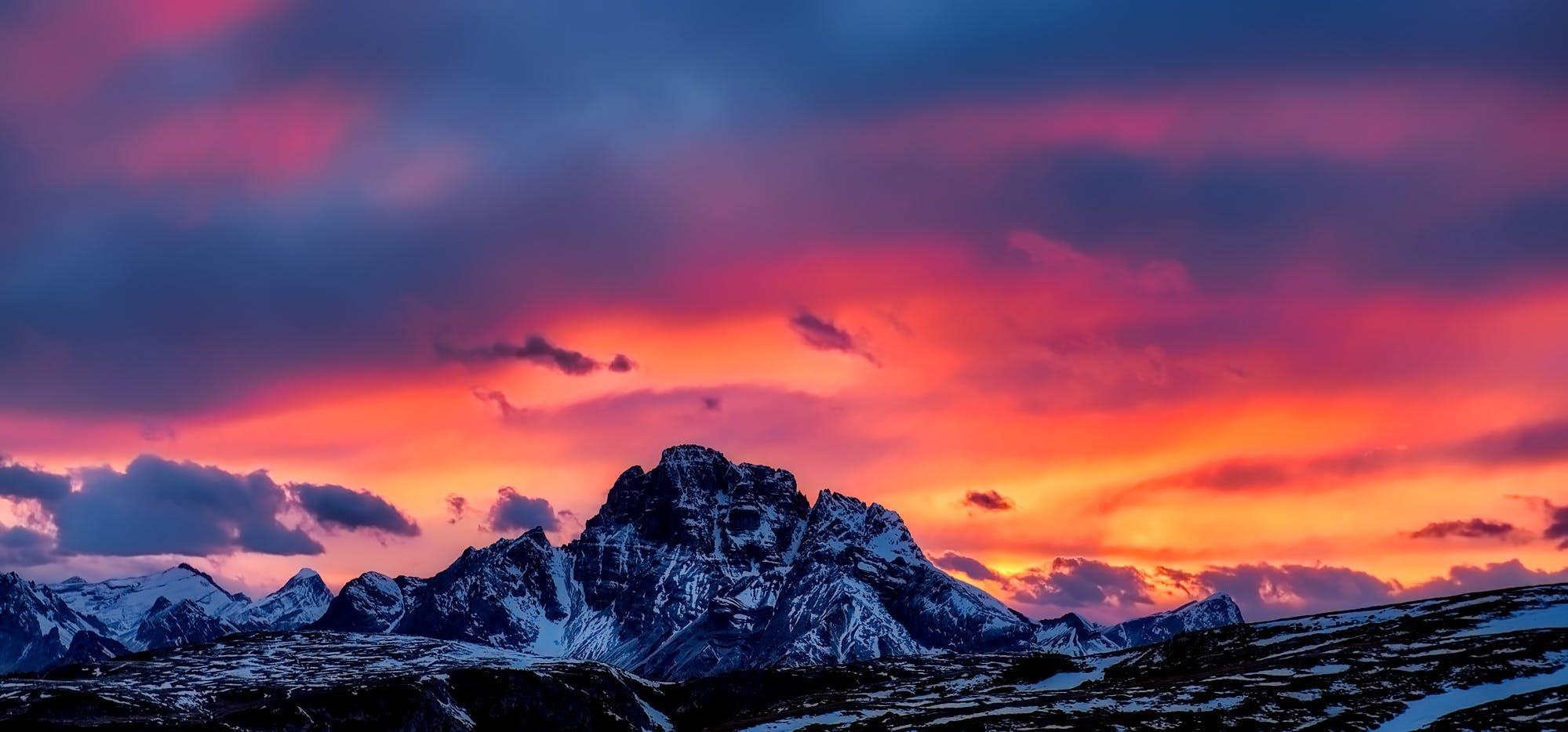 Kostenloses Stock Foto zu berge, dämmerung, friedvoll, himmel