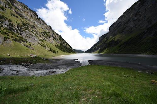 Gratis lagerfoto af å, bjerge, dagslys, græs