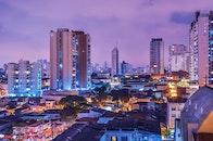 city, night, buildings