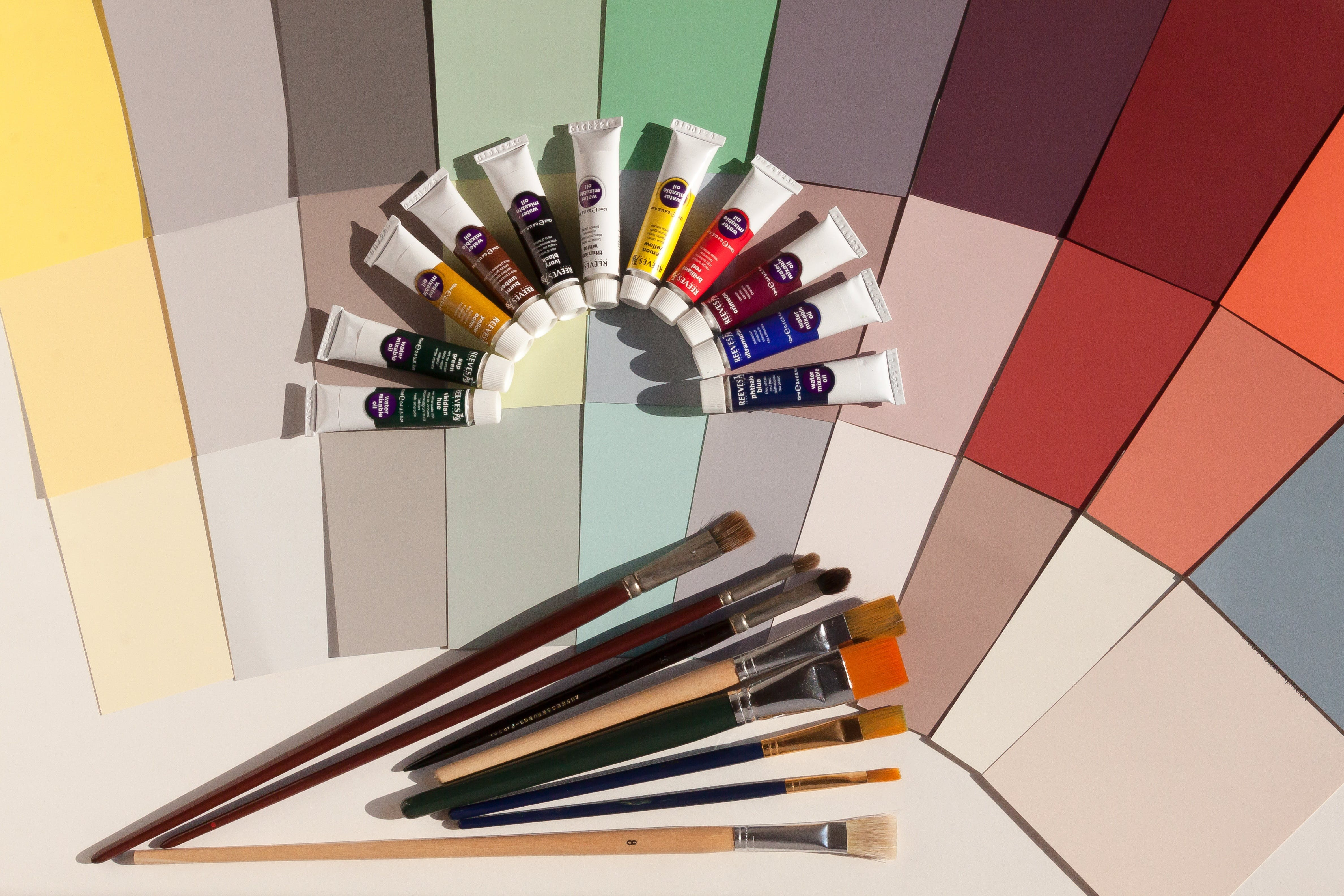 Assorted-color Paints and Paint Brushes