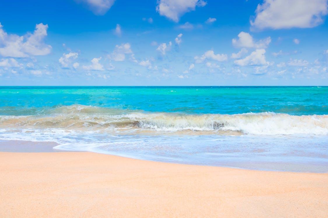 Brown Sand Beach Near Blue Ocean
