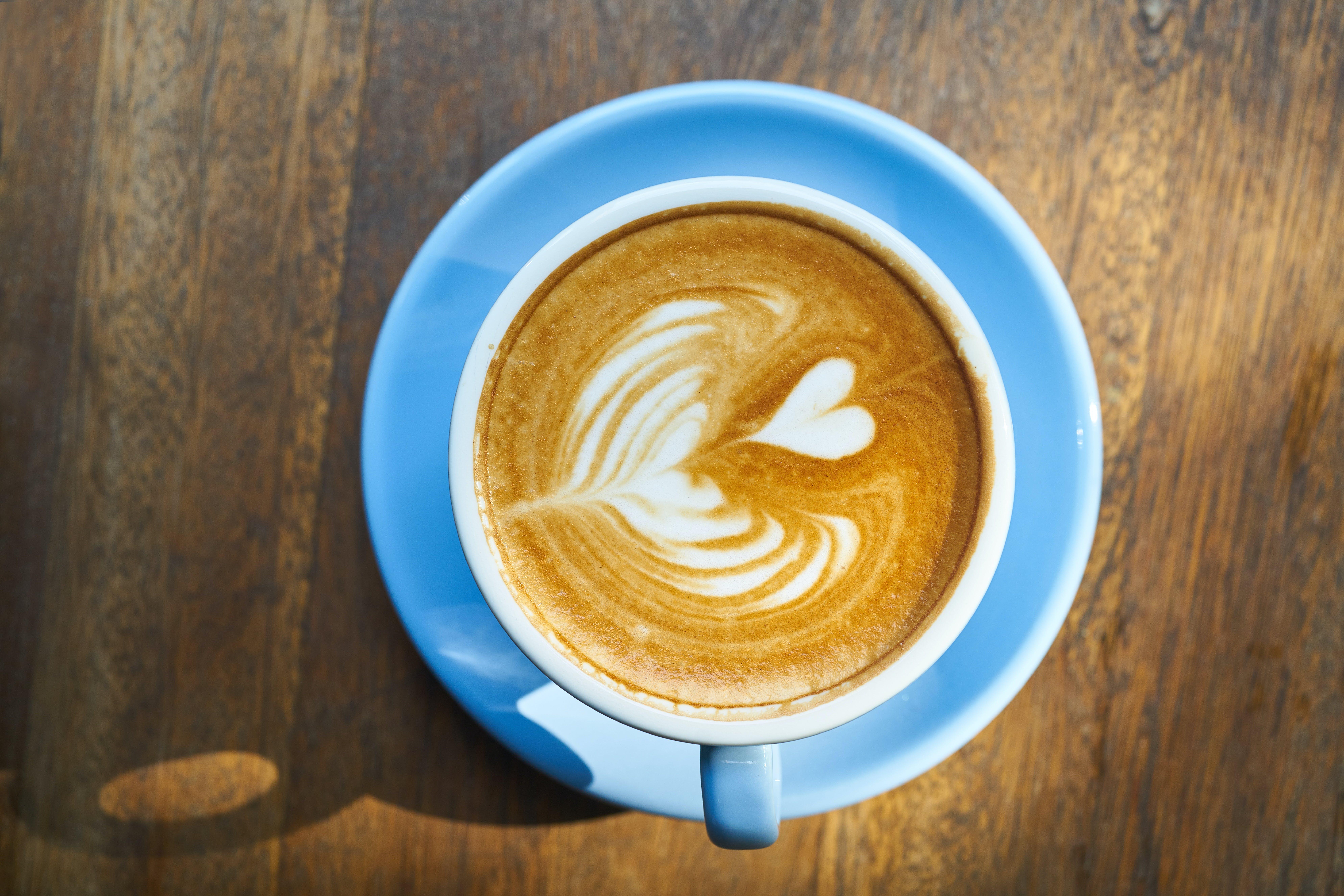 Blue Ceramic Coffee Mug on Saucer